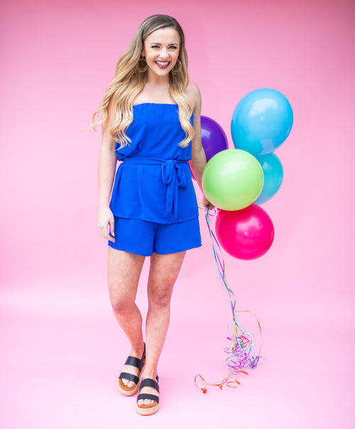 Clear Skies Layered Tube Romper:  Capri Blue