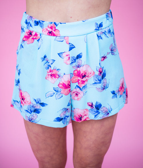 Riley Shorts with an Elastic Waistband:  Sky Blue