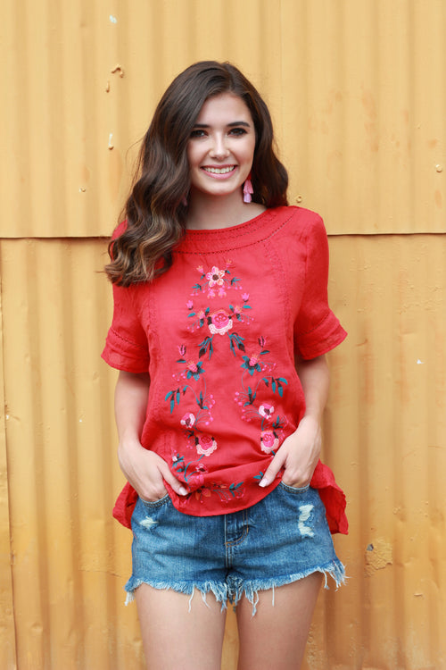 See Ya in Spain Embroidered Blouse:  Red