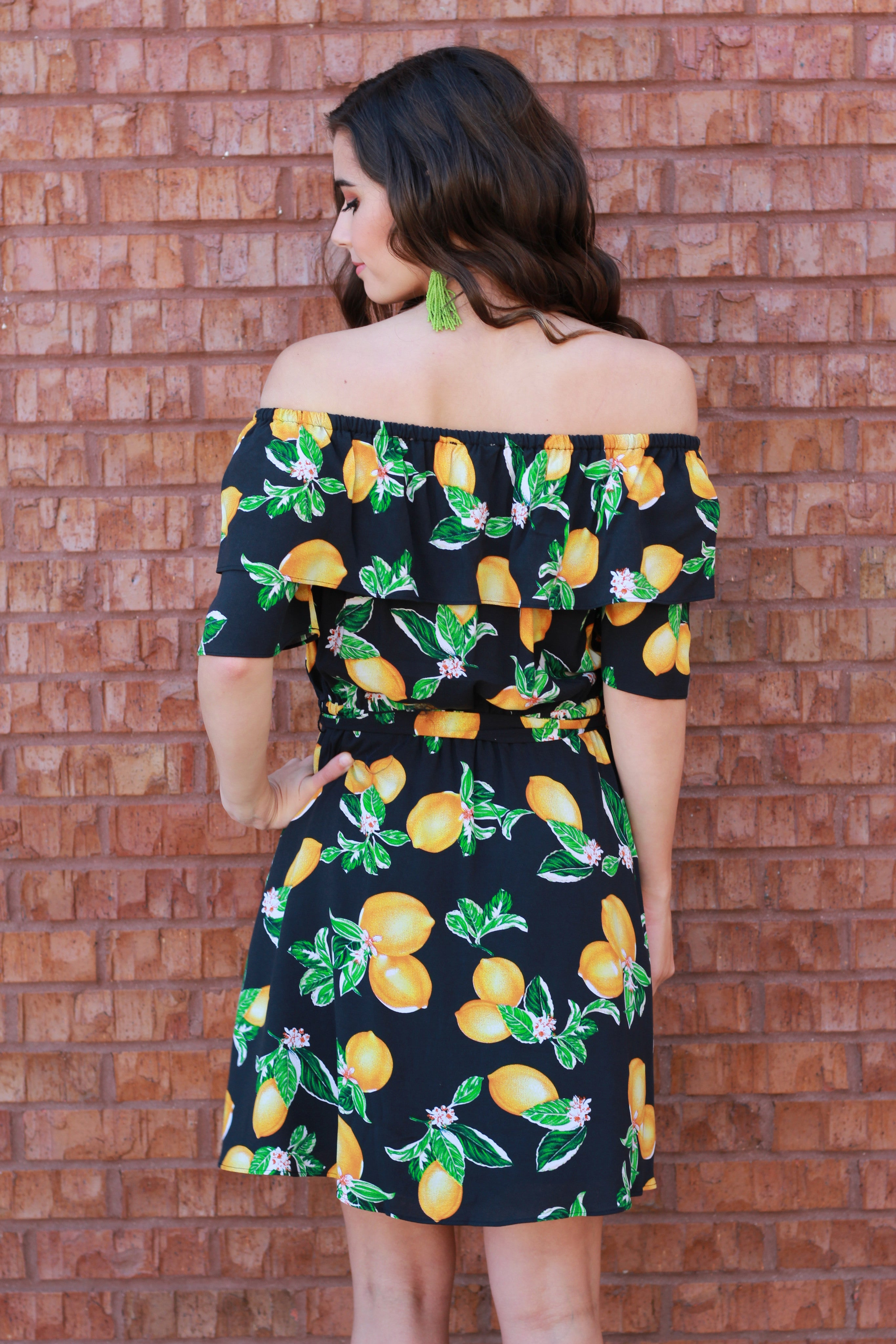 When Life Gives You Lemons Off the Shoulder Dress:  Navy/Mustard