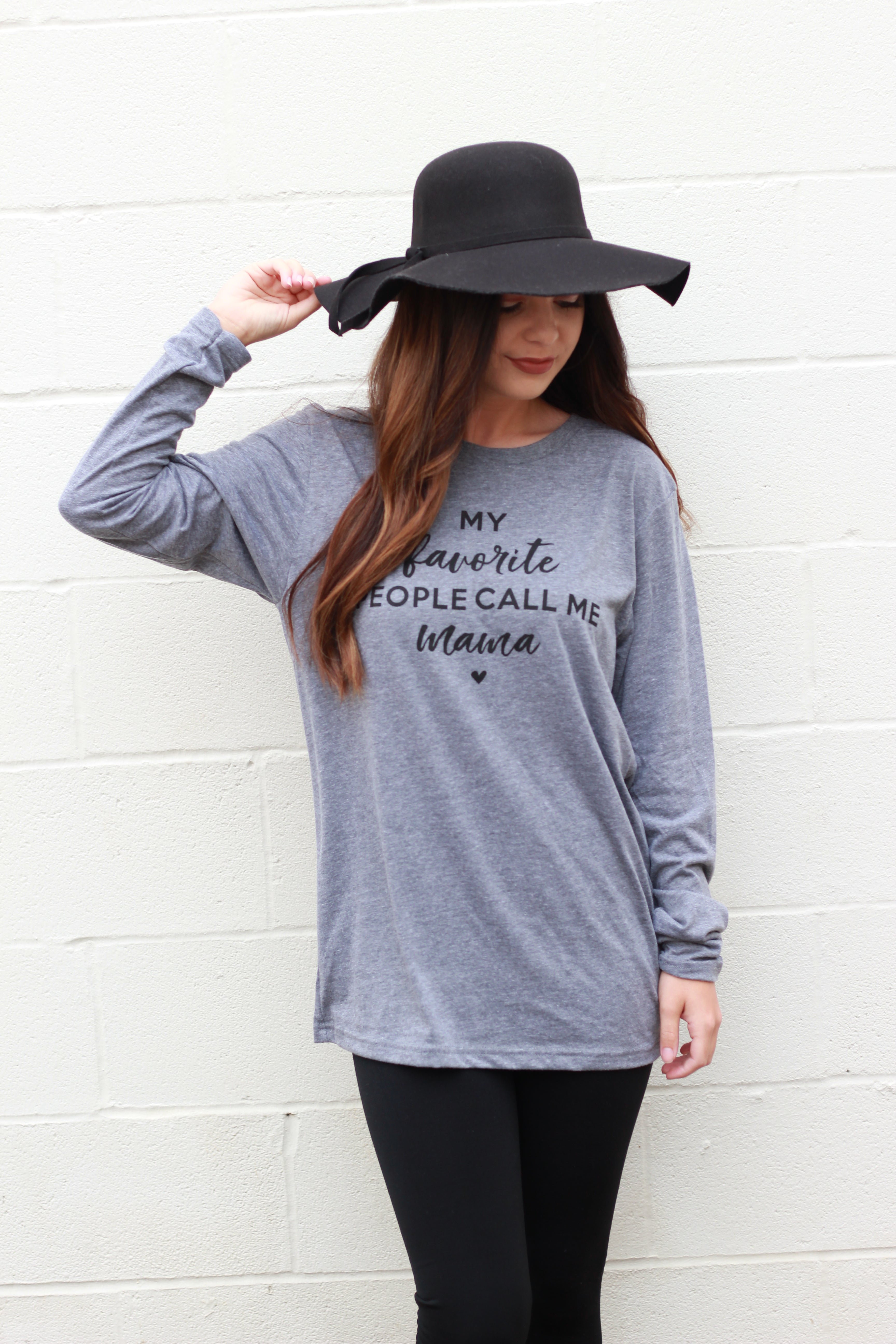 My Favorite People Call Me Mama Long Sleeve T-Shirt:  Dark Grey