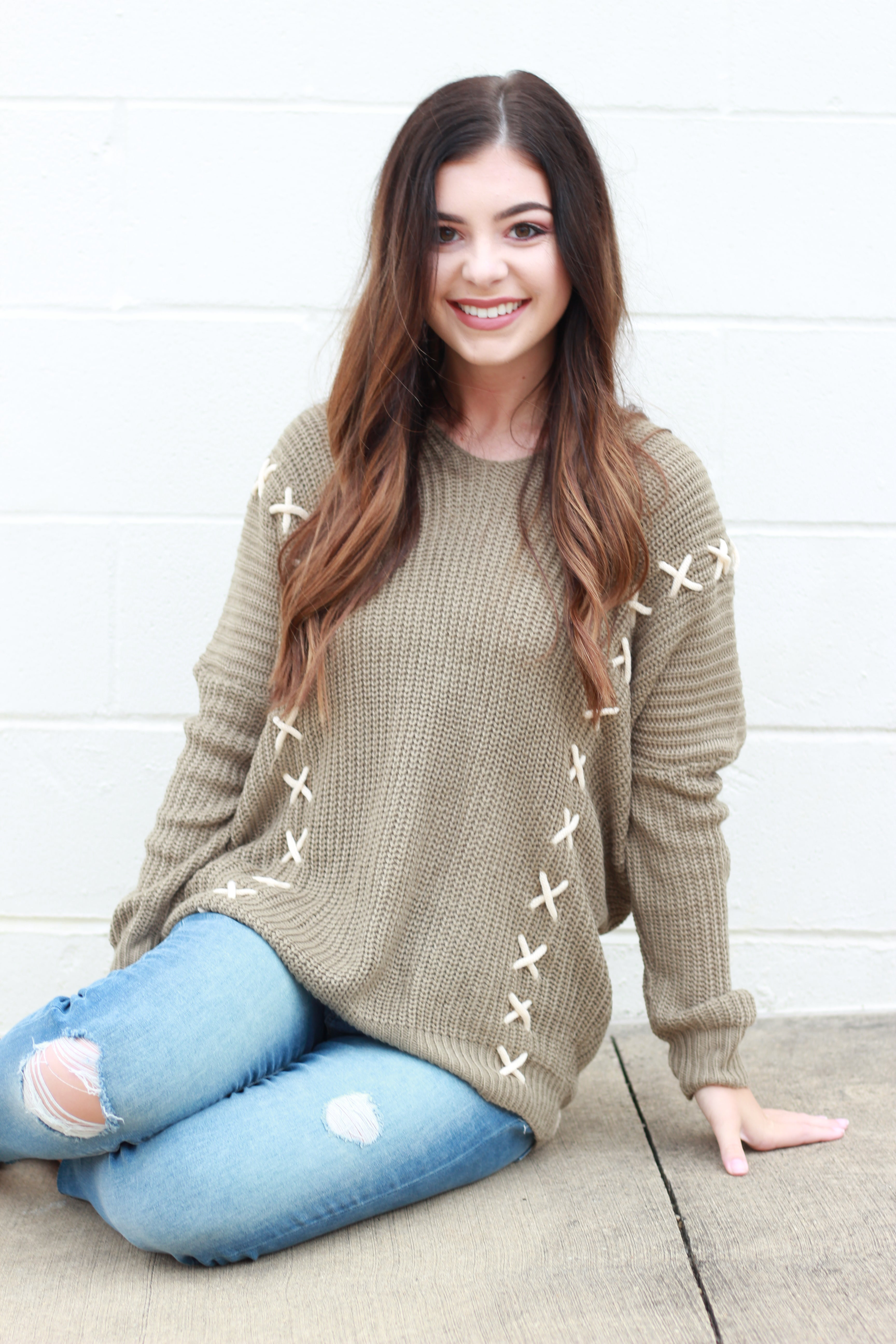 Stitch Please Pullover Sweater:  Olive