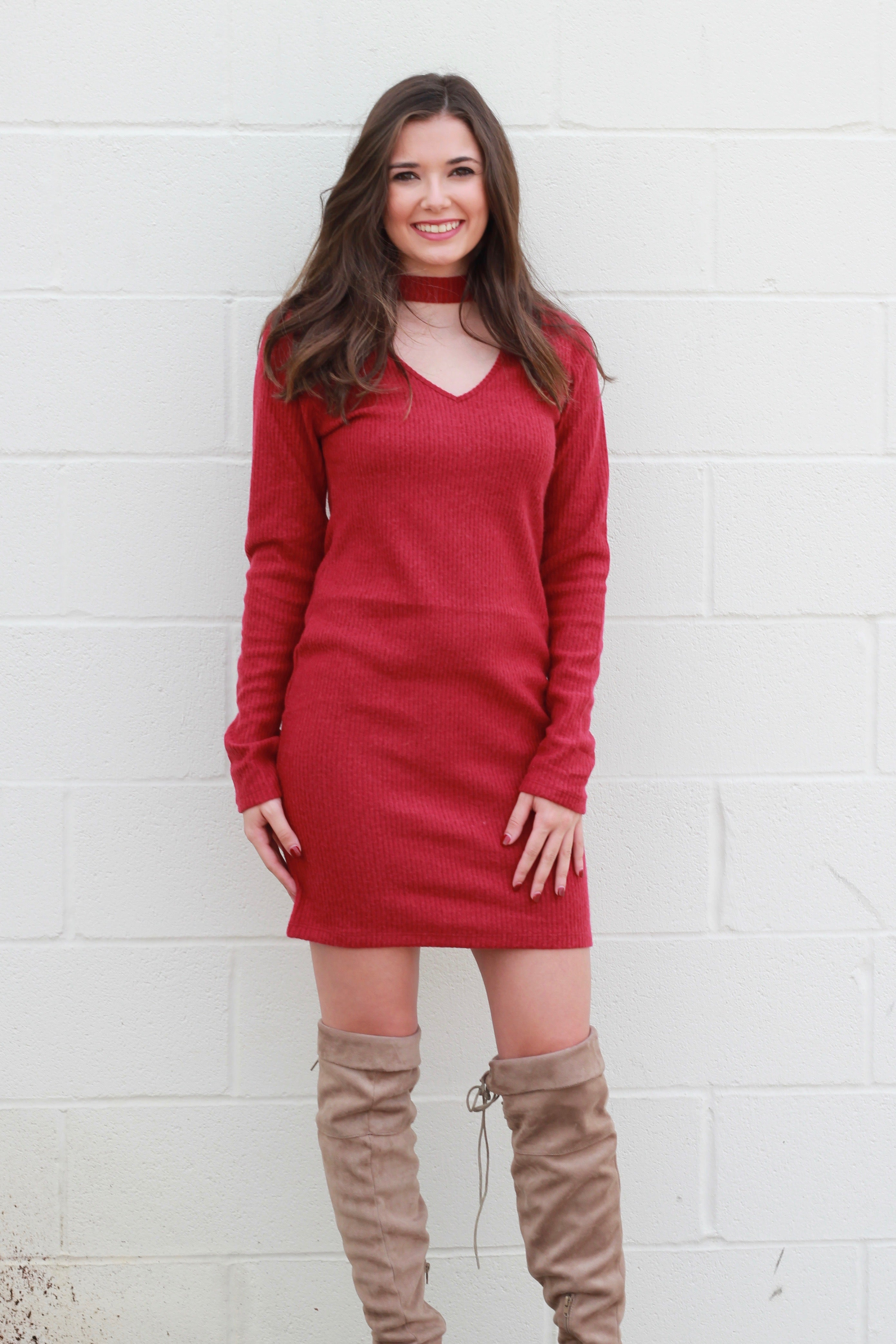 The Cherry on Top Sweater Dress:  Dark Red