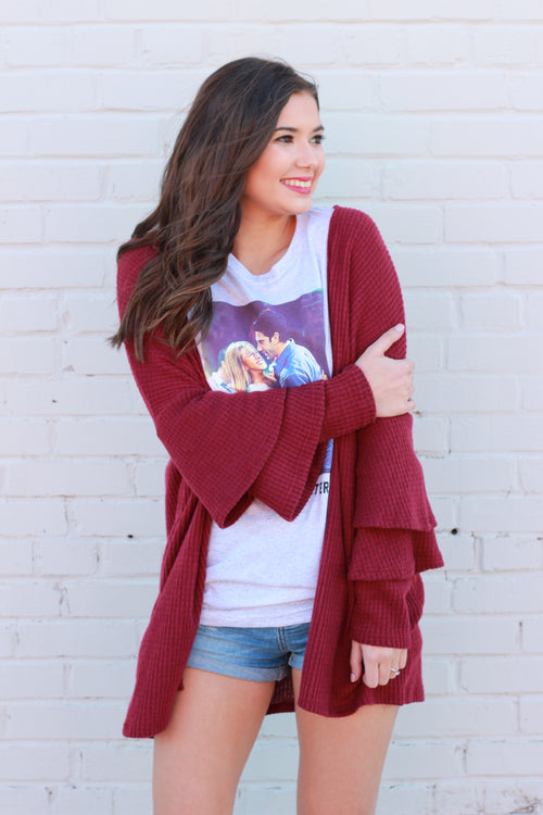 Love is in the Air Three Tier Ruffle Cardigan:  Burgundy