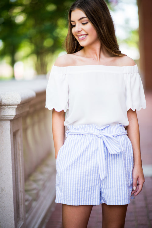 I Know The Truth Off the Shoulder Blouse with Scalloped Hemline