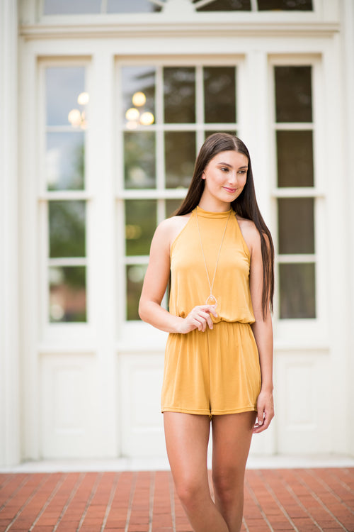 Something Special Halter Top Romper:  Mustard