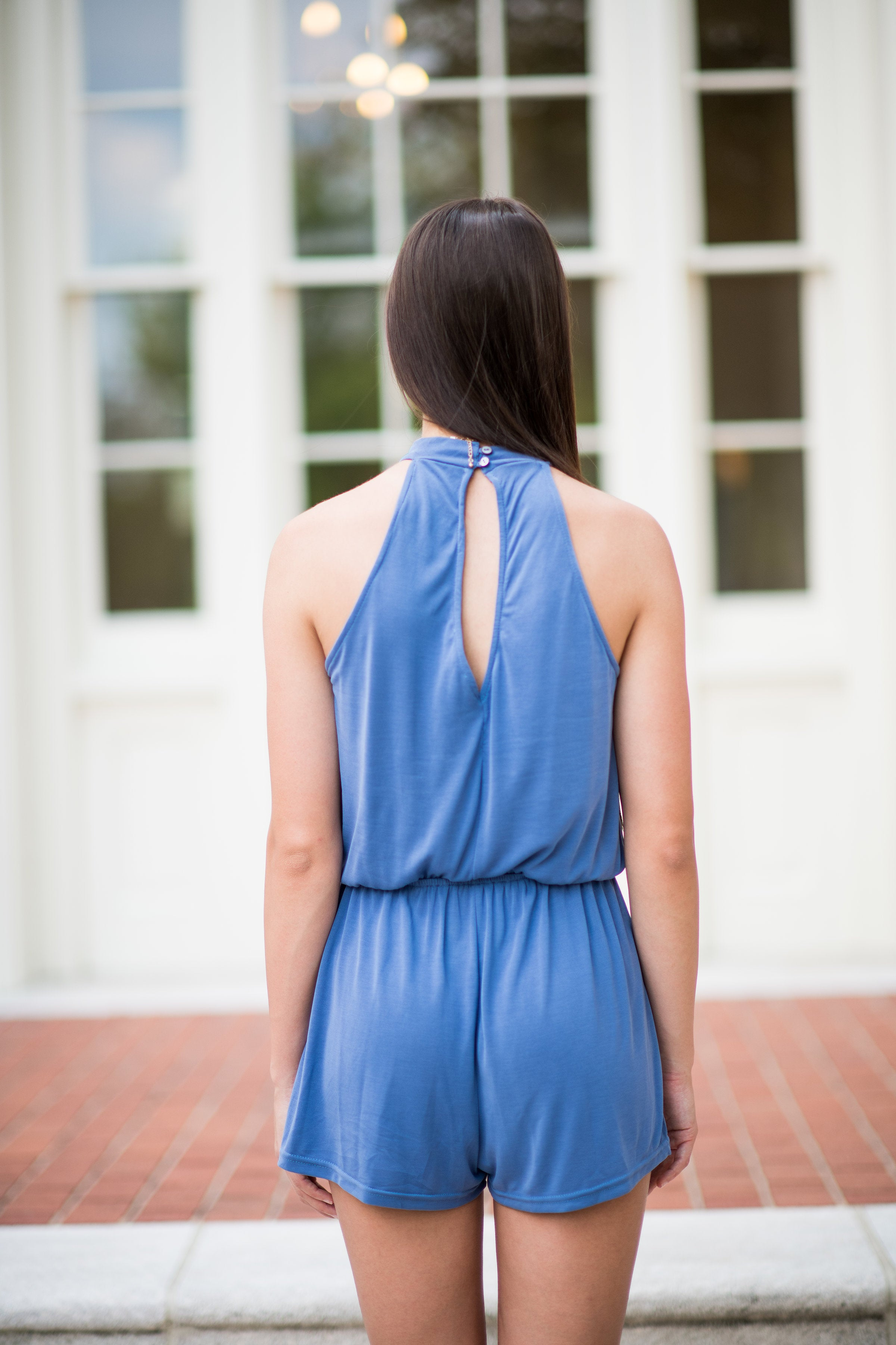 Something Special Halter Top Romper:  Dusty Blue