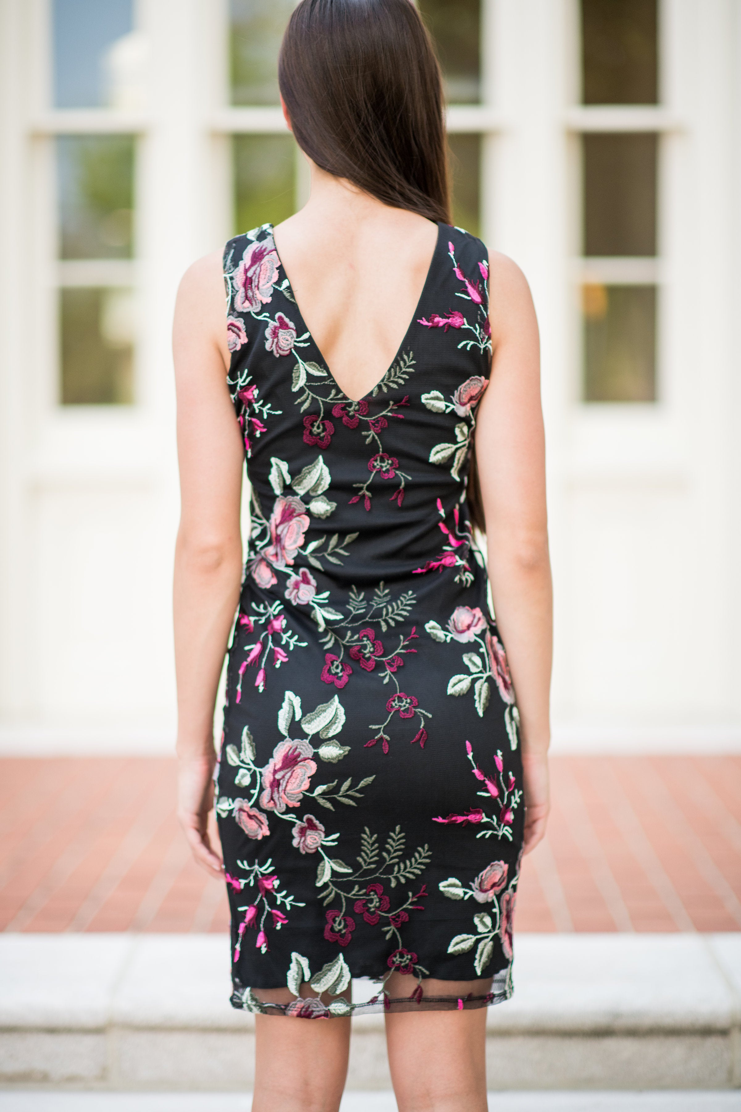 The Oasis Midi Dress with Floral Overlay:  Black Multi - Obsession Boutique