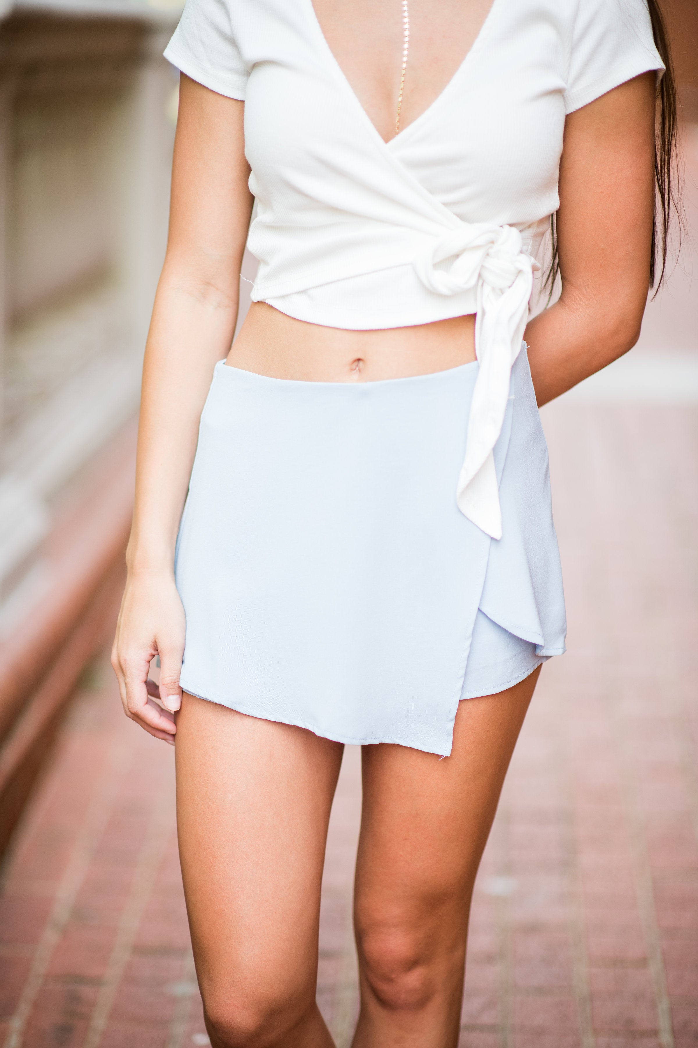 Hey Now Short Sleeve Crop Top with Side Bow