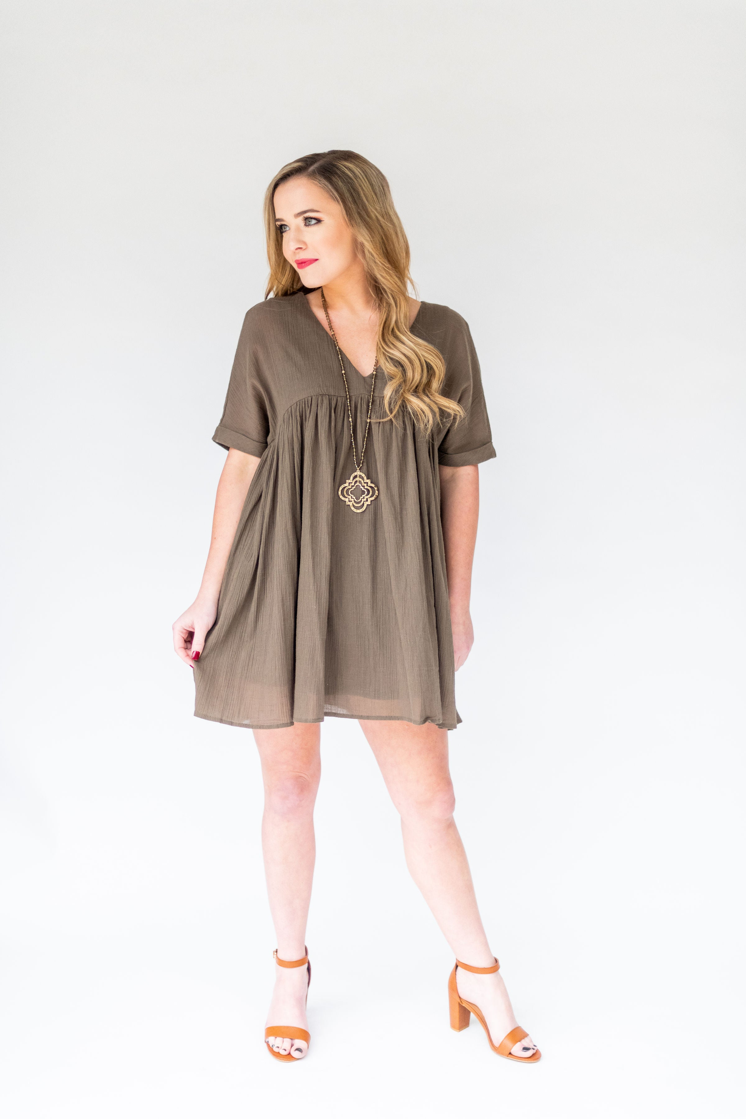 Time Of My Life Babydoll Dress:  Olive & Black