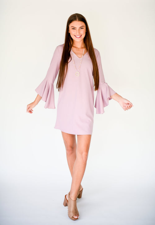 If Everything Was Simple Shift Dress with Bell Sleeves:  Mauve