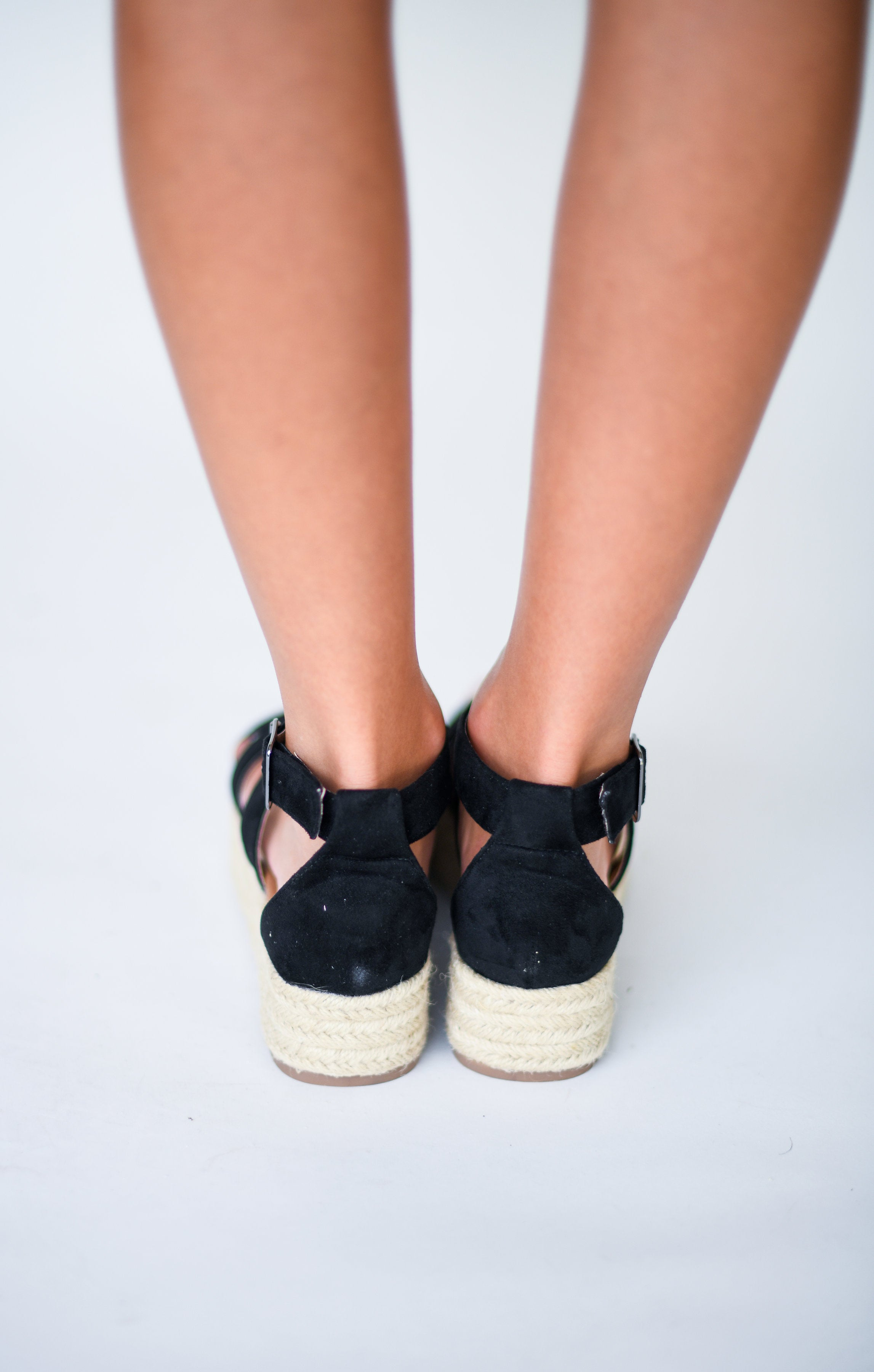 Best Seller Strappy Flatform Espadrilles:  Black