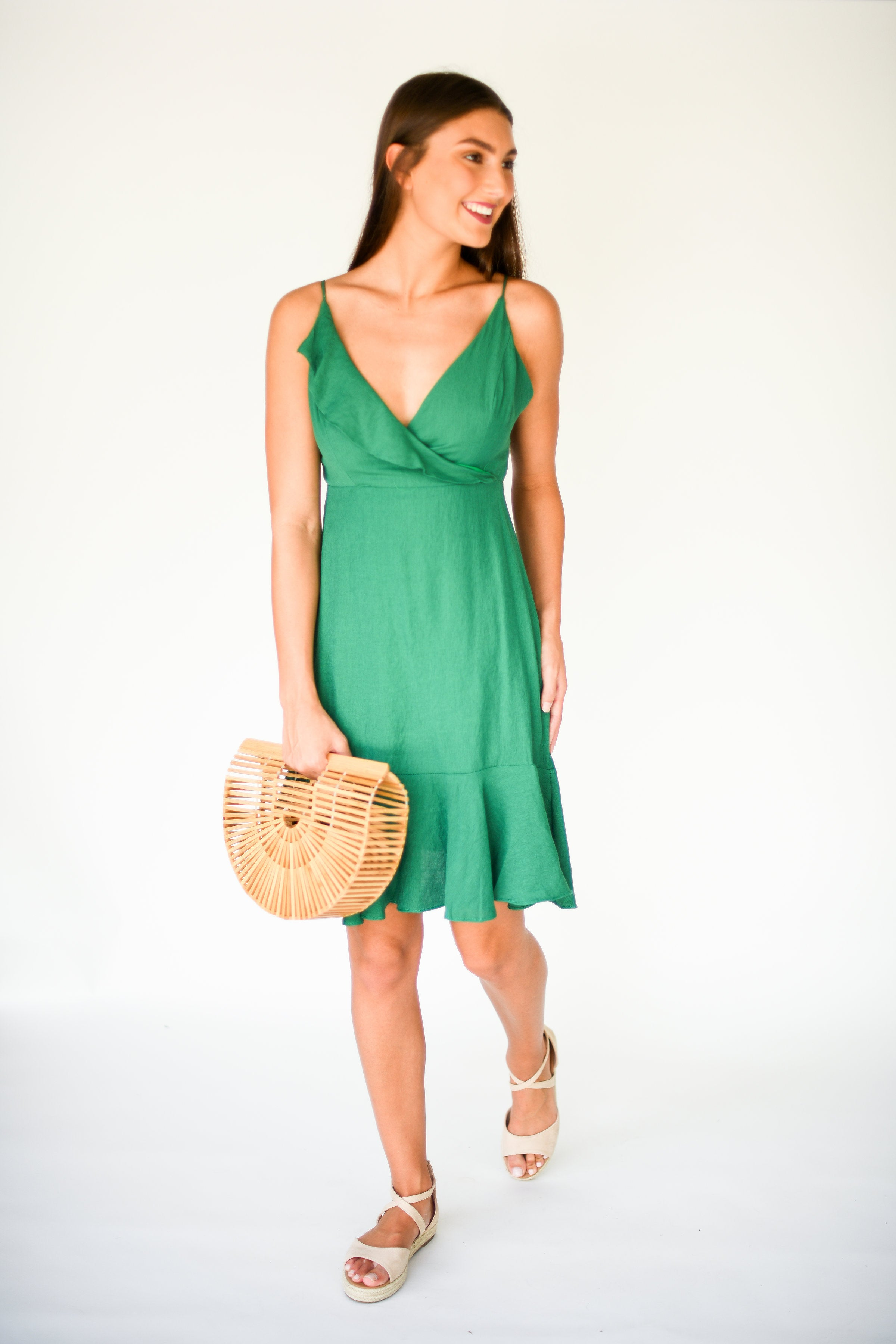 Gorgeous in Green Midi Dress with Ruffle Hem:  Kelly Green