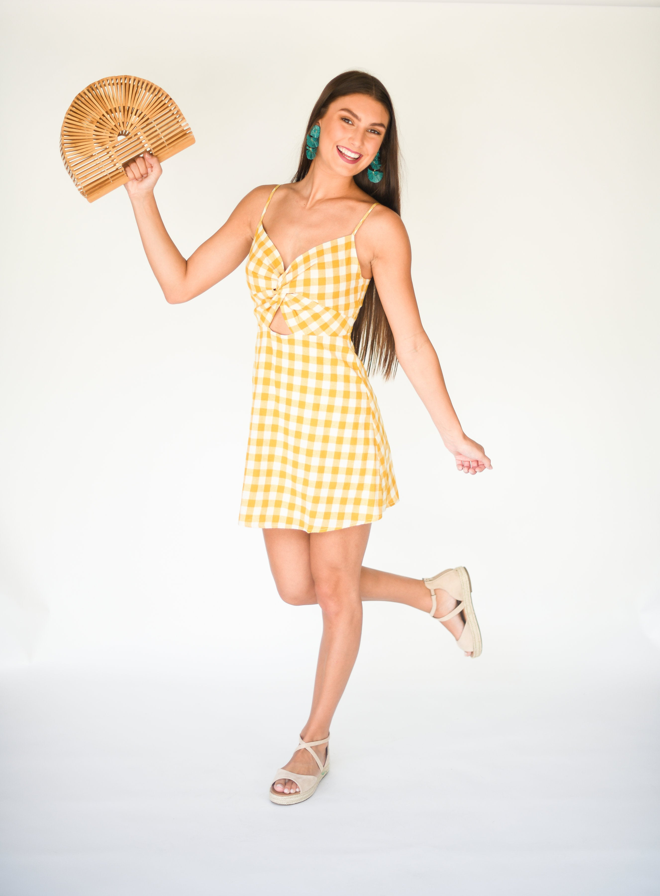 The Isabella Gingham Sundress with Peek-A-Boo Cutout:  Mustard