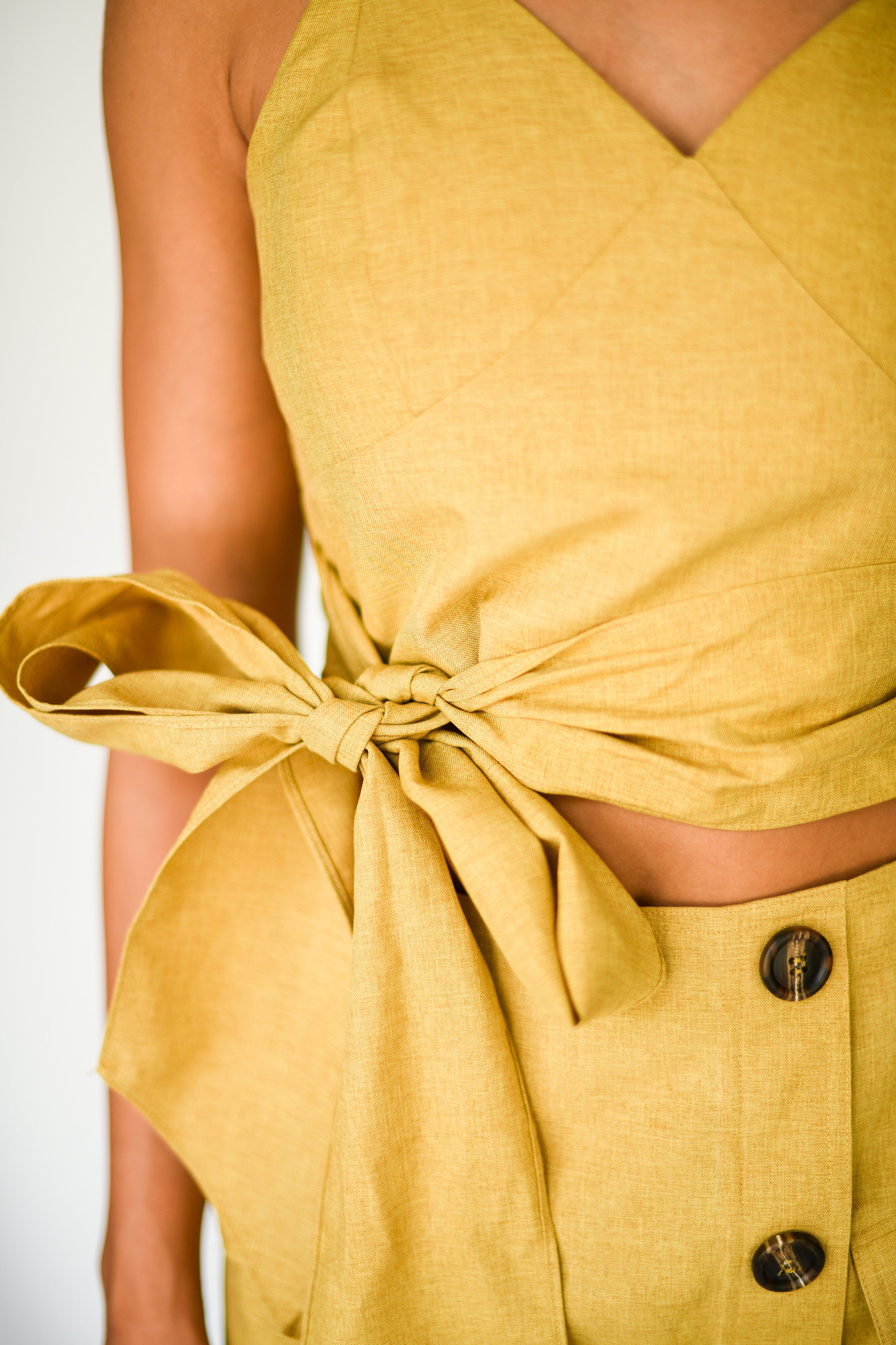 Here Comes the Sun Babydoll Crop Top:  Mustard