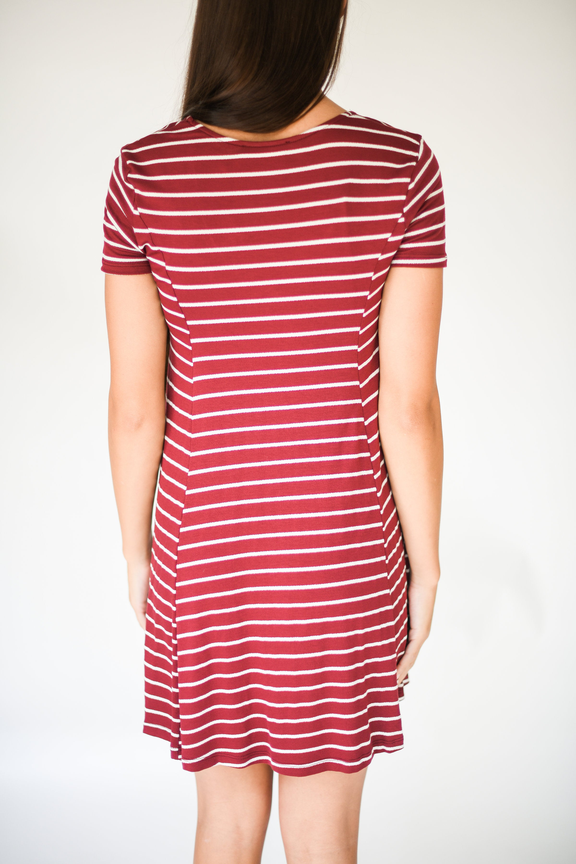 Wine and Dine Striped T-Shirt Dress:  Burgundy