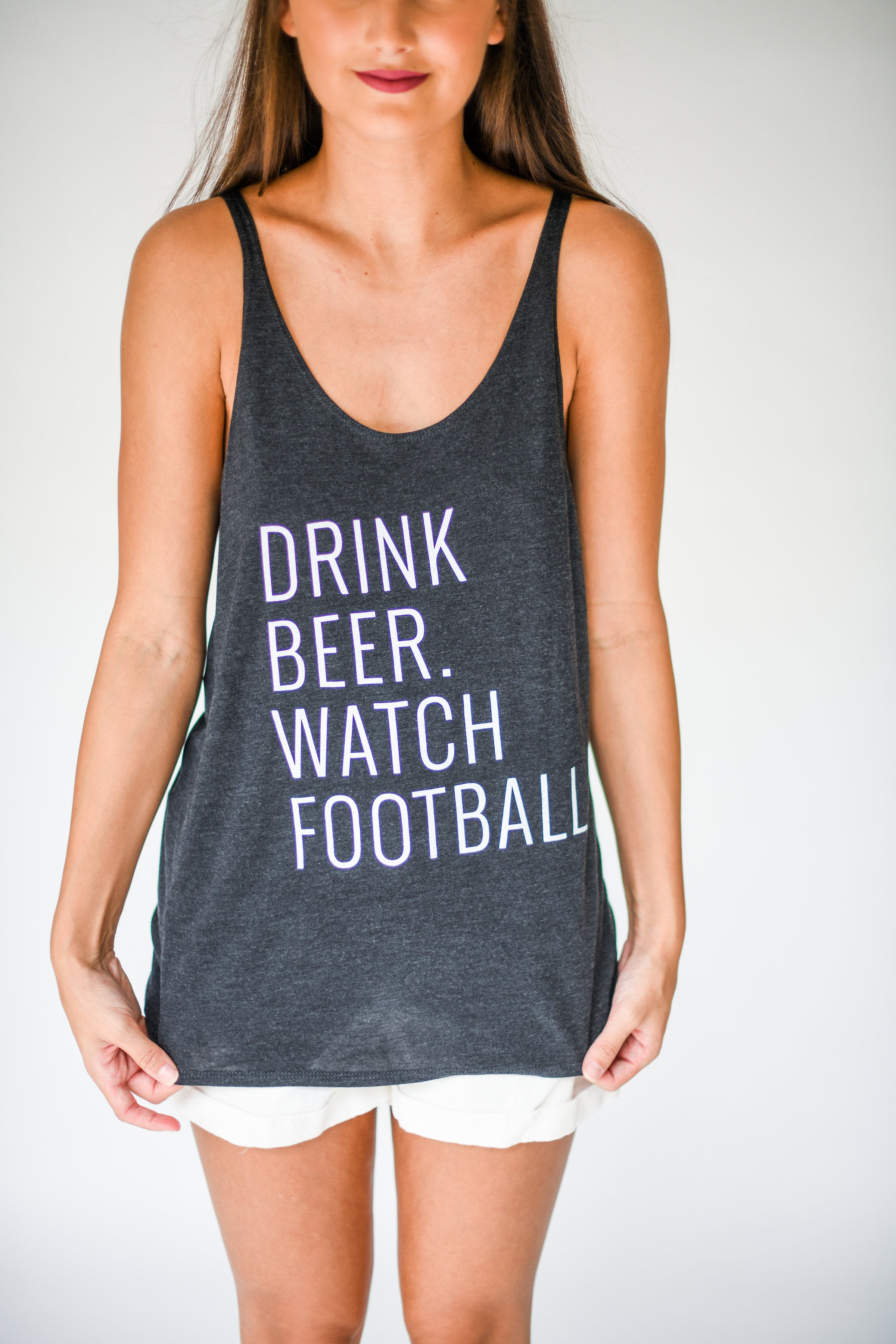 Charlie Southern Drink Beer Watch Football Tank Top:  Heather Black