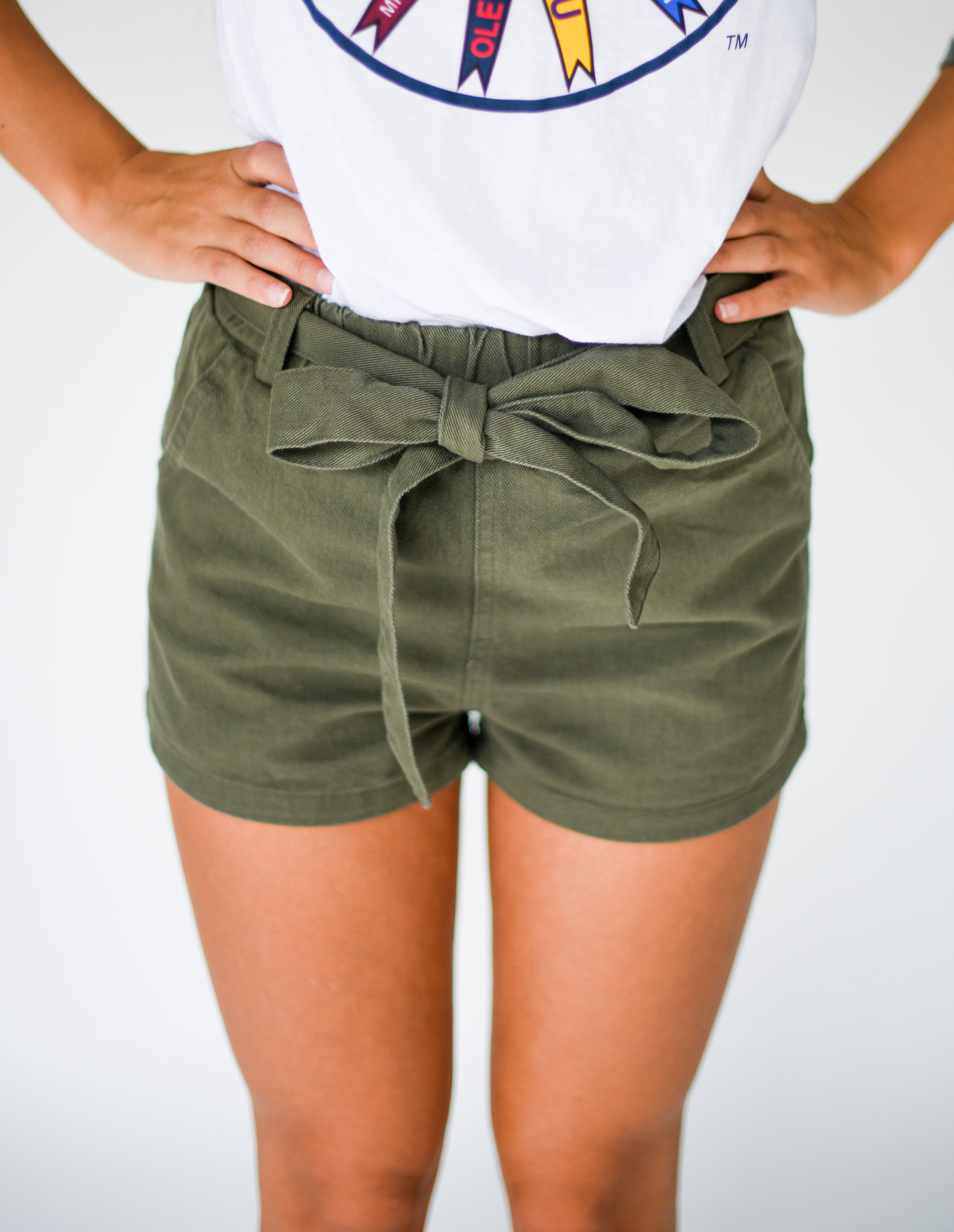 On Trend Denim Shorts with Tie Belt:  Olive Green