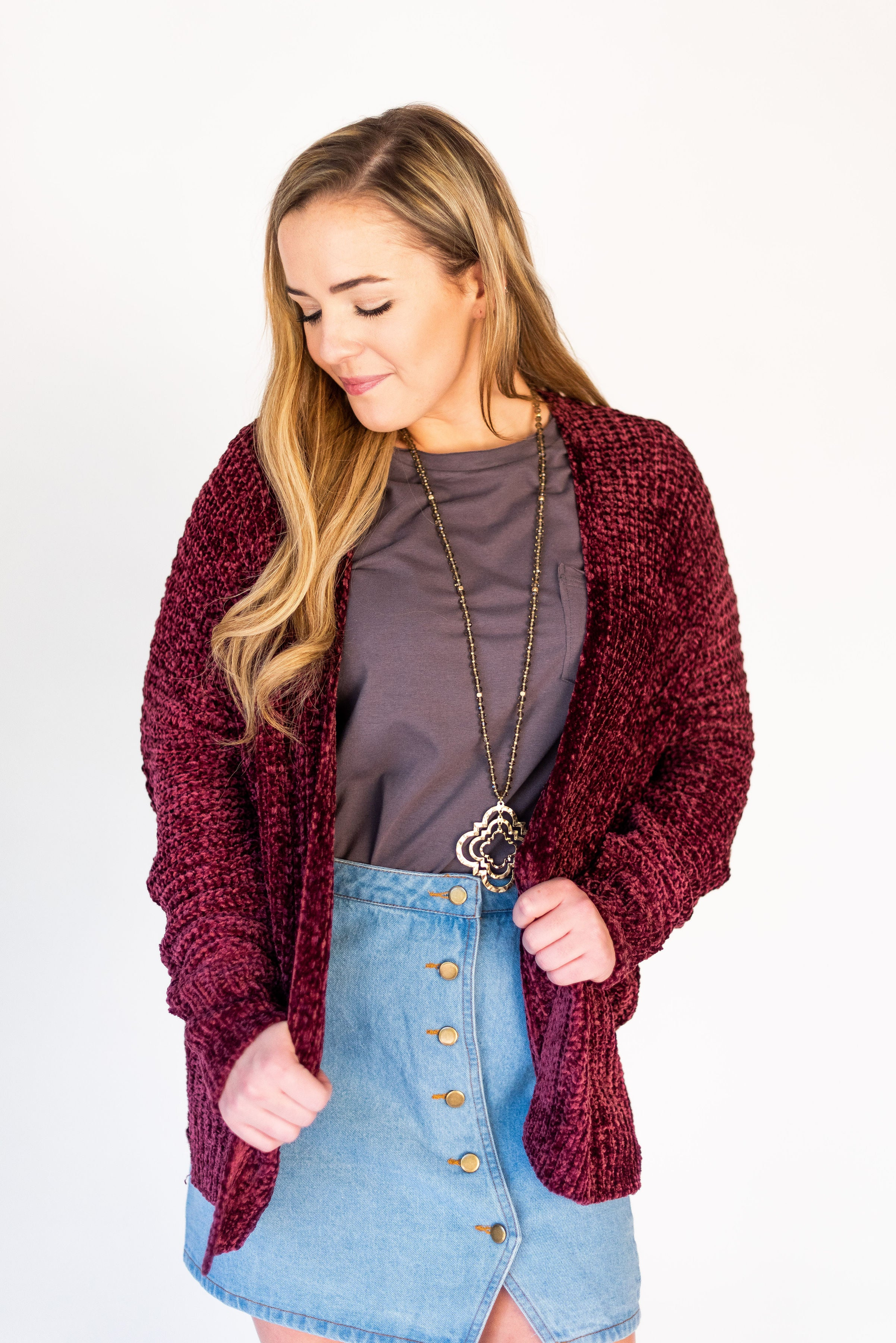 Thankful, Grateful and Blessed Chenille Chunky Cardigan:  Wine