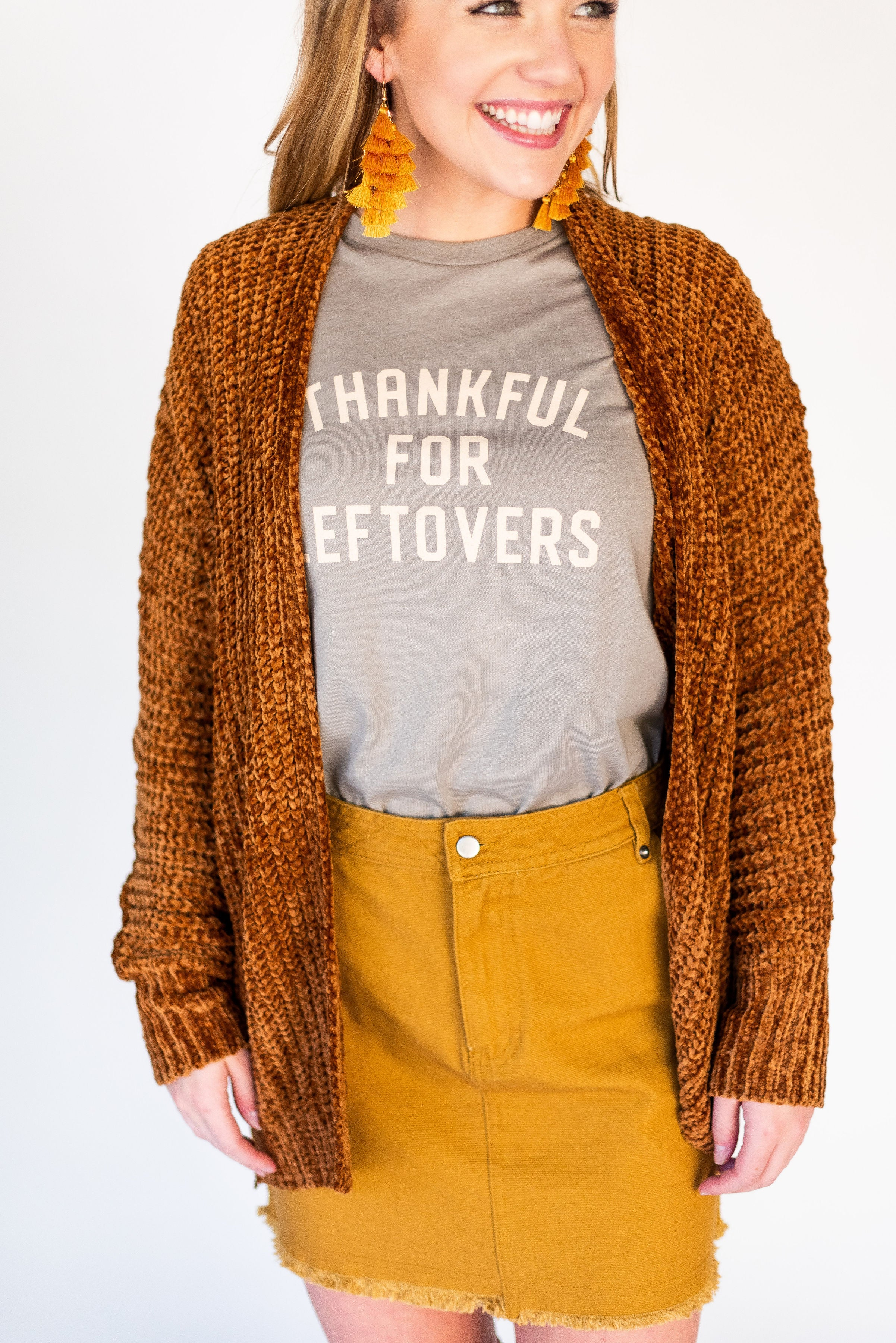 Thankful, Grateful & Blessed Chenille Chunky Cardigan:  Cinnamon
