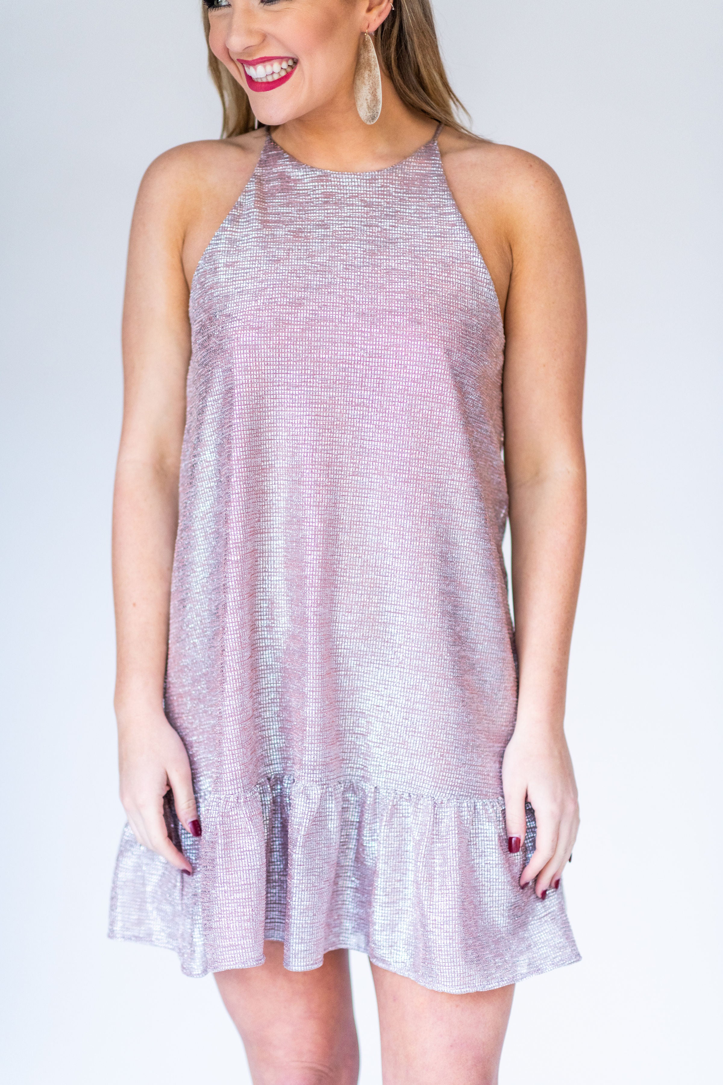 Crystal Clear Shimmer Cocktail Dress with Peplum Hem:  Rose Gold