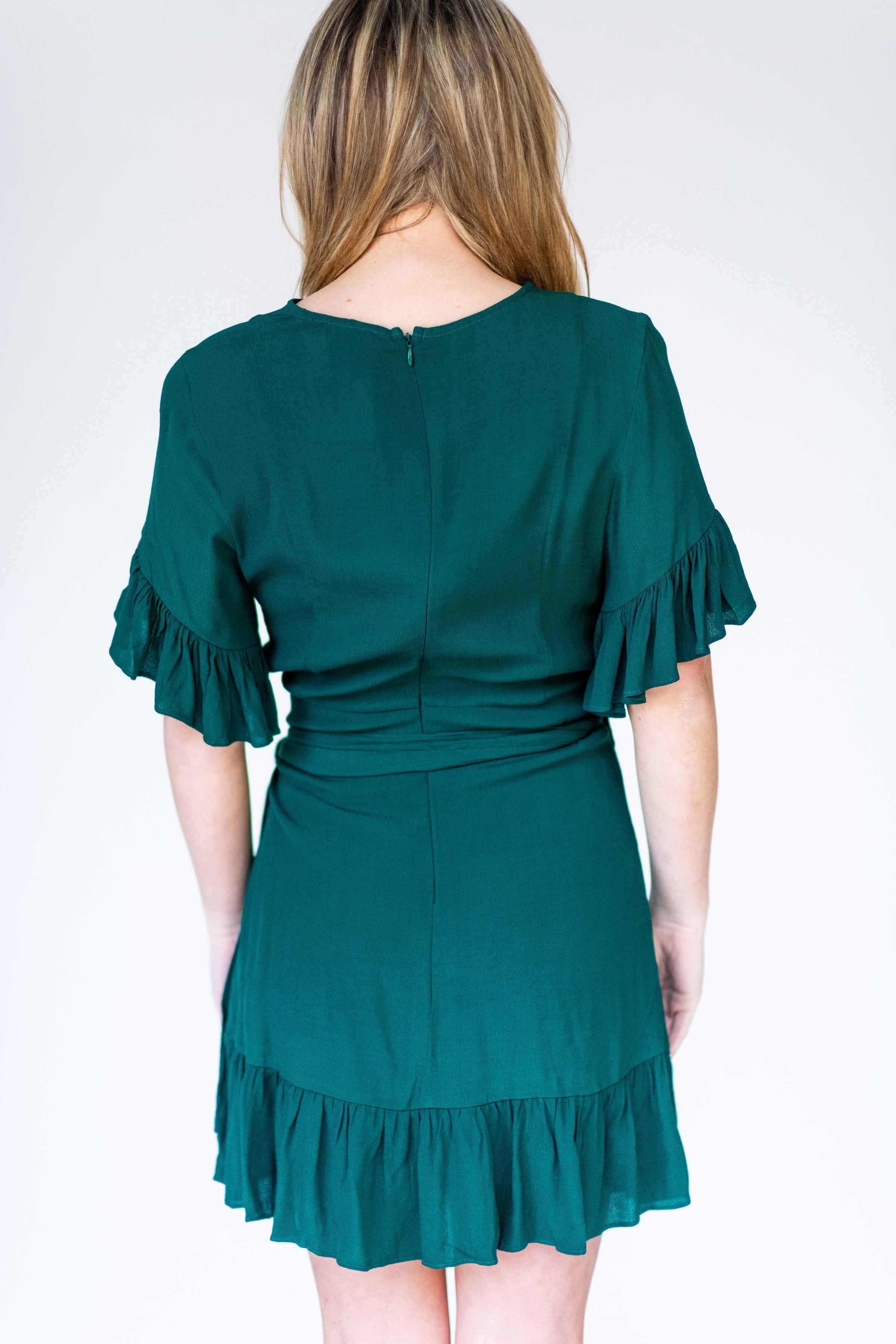 That's a Gift Wrap Ruffle Cocktail Dress:  Dark Green