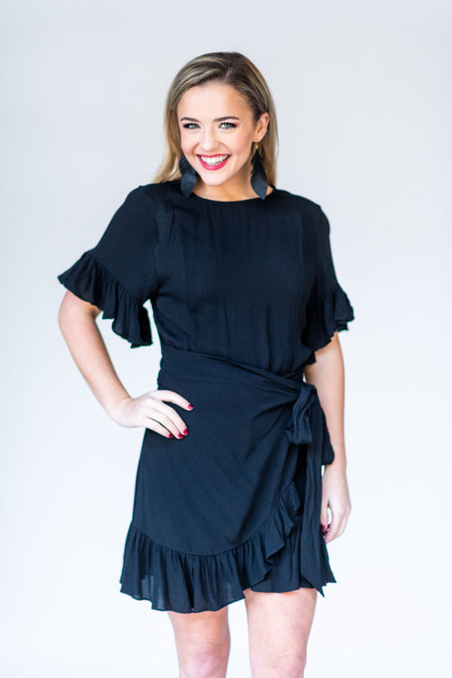 That's a Gift Wrap Ruffle Cocktail Dress:  Black