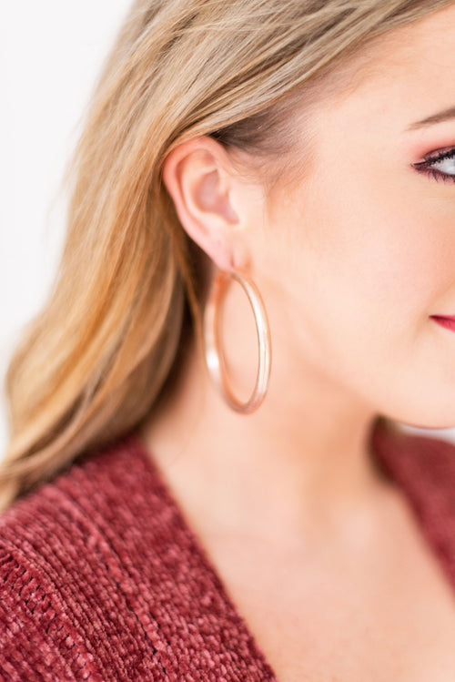 What You Need Brushed Metal Oversized Hoop Earrings:  Rose Gold