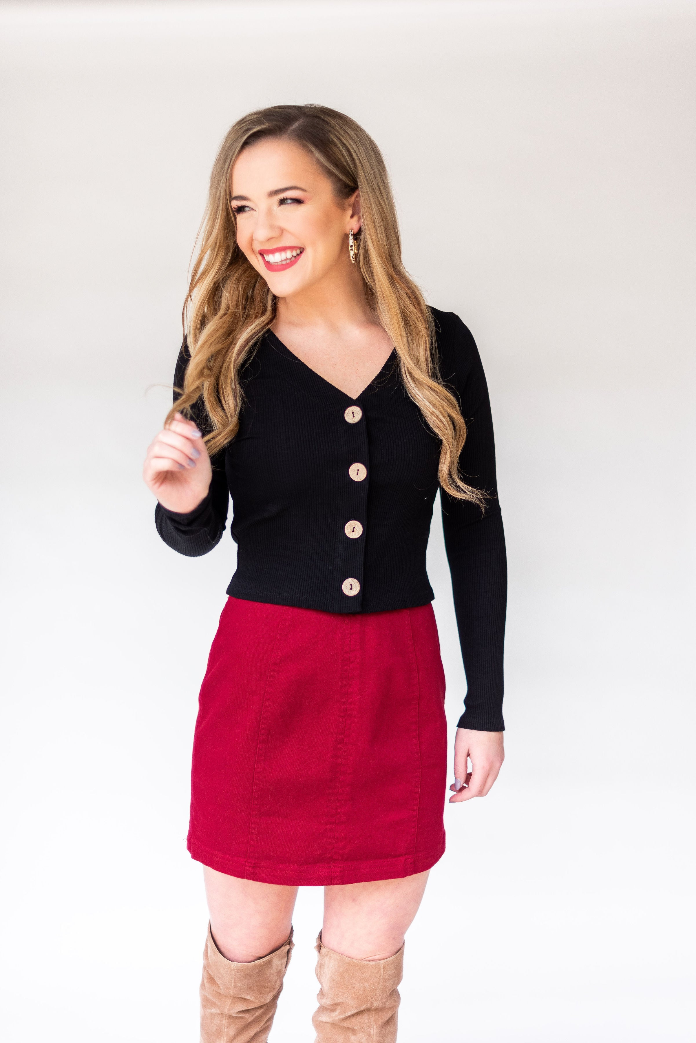 In the End Long Sleeve Button Down Crop Top:  Black