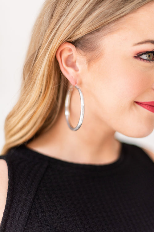 What You Need Brushed Metal Oversized Hoop Earrings:  Silver