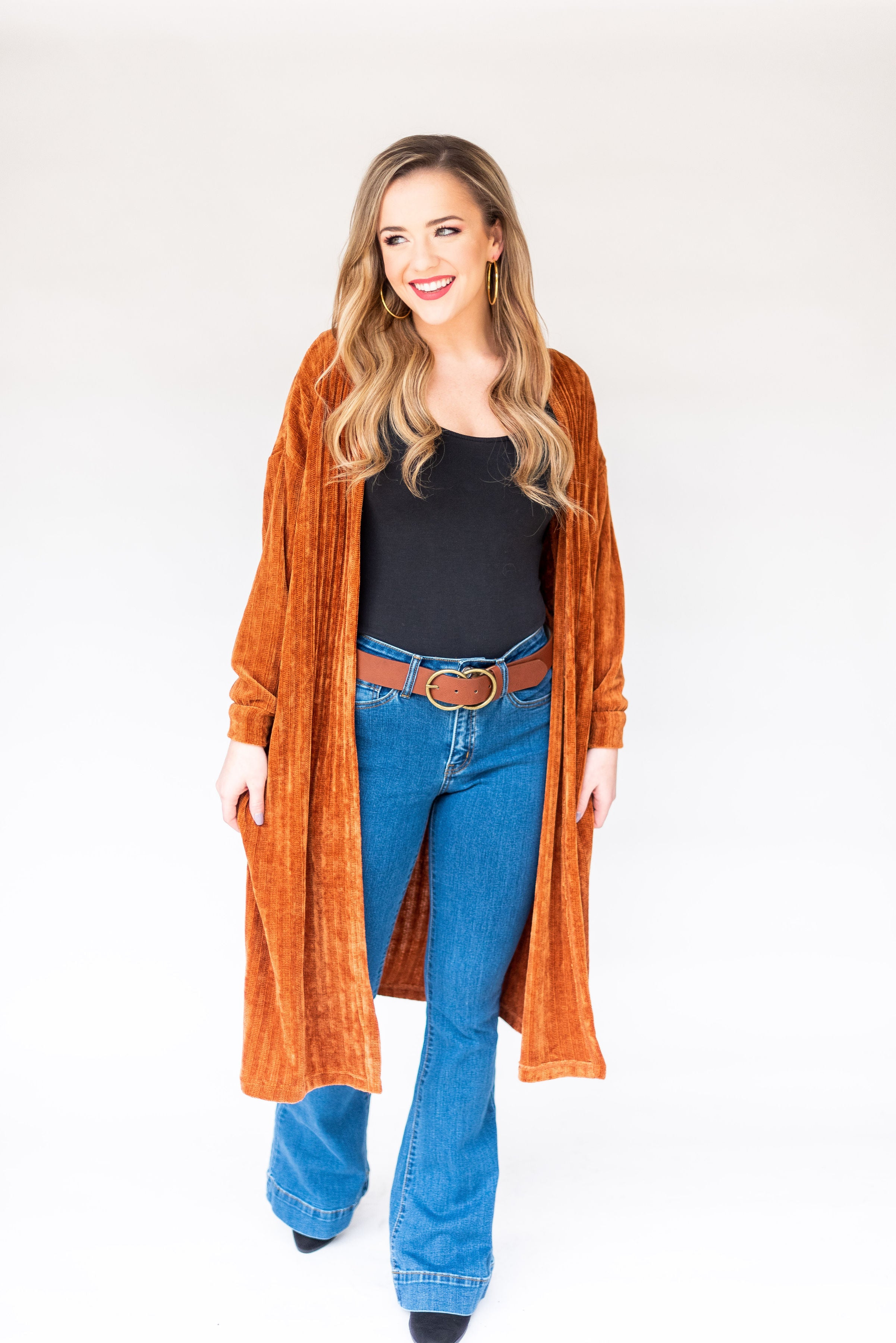 Winding Road Chenille Ribbed Midi Cardigan:  Rust
