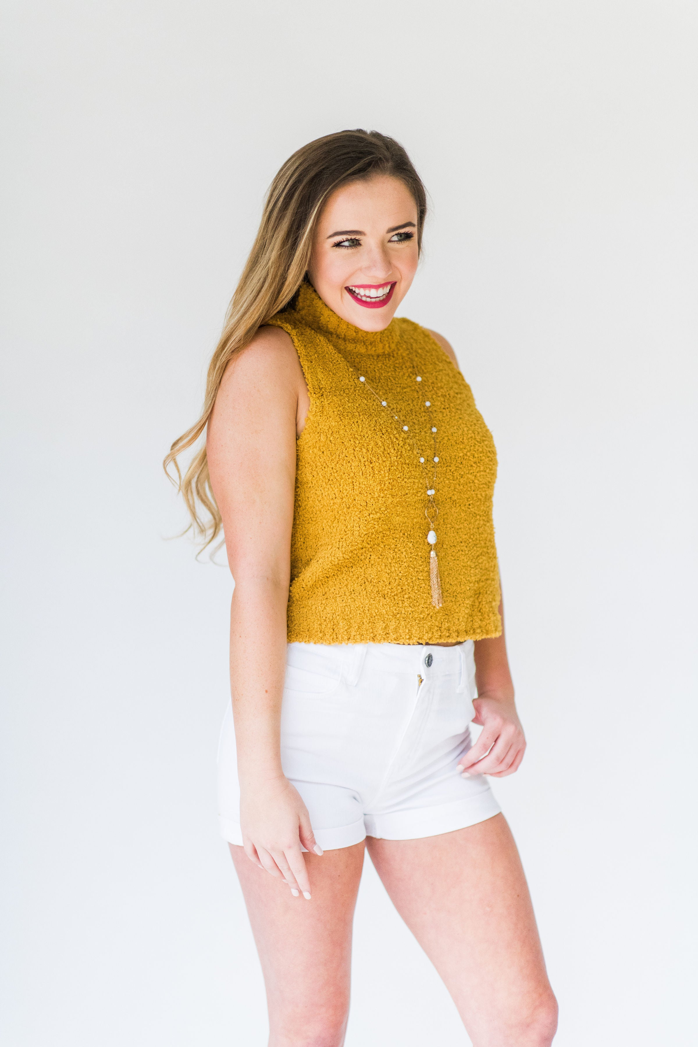 Fall Sunset Sleeveless Turtleneck Sweater:  Mustard