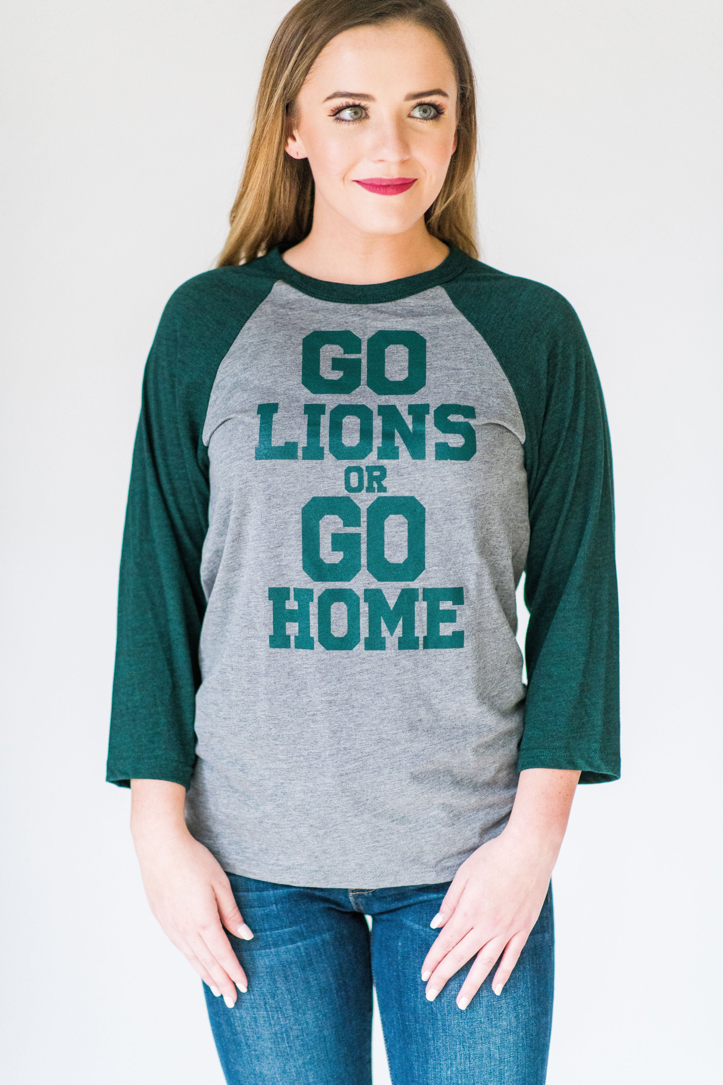 Bishop T's Go Lions or Go Home Raglan:  Green & Grey
