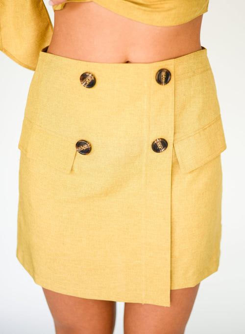 Here Comes the Sun Button Mini Skirt:  Mustard