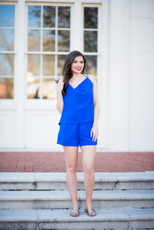 Blue Skies Above Cowl Neck Romper:  Royal Blue