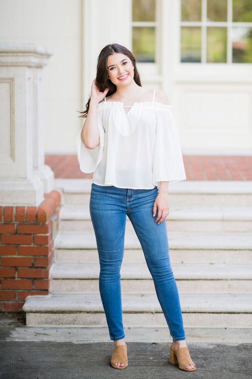Before You Know It Cold Shoulder Top with Bell Sleeves