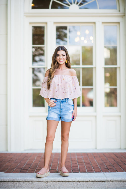 Cherry Blossom Simple Flowy Crop Top