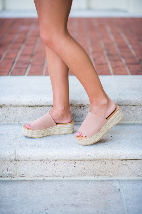 Just Peachy Slide On Flatform with Thick Strap:  Blush