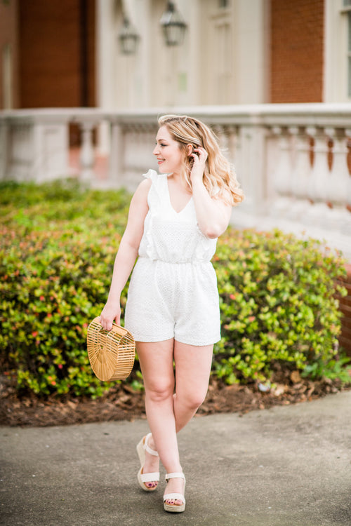 Head in the Clouds Eyelet Romper with Ruffles:  White