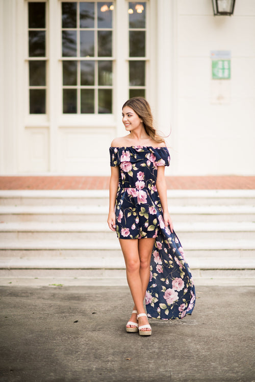 Keeps Getting Better Maxi Romper:  Multi Navy