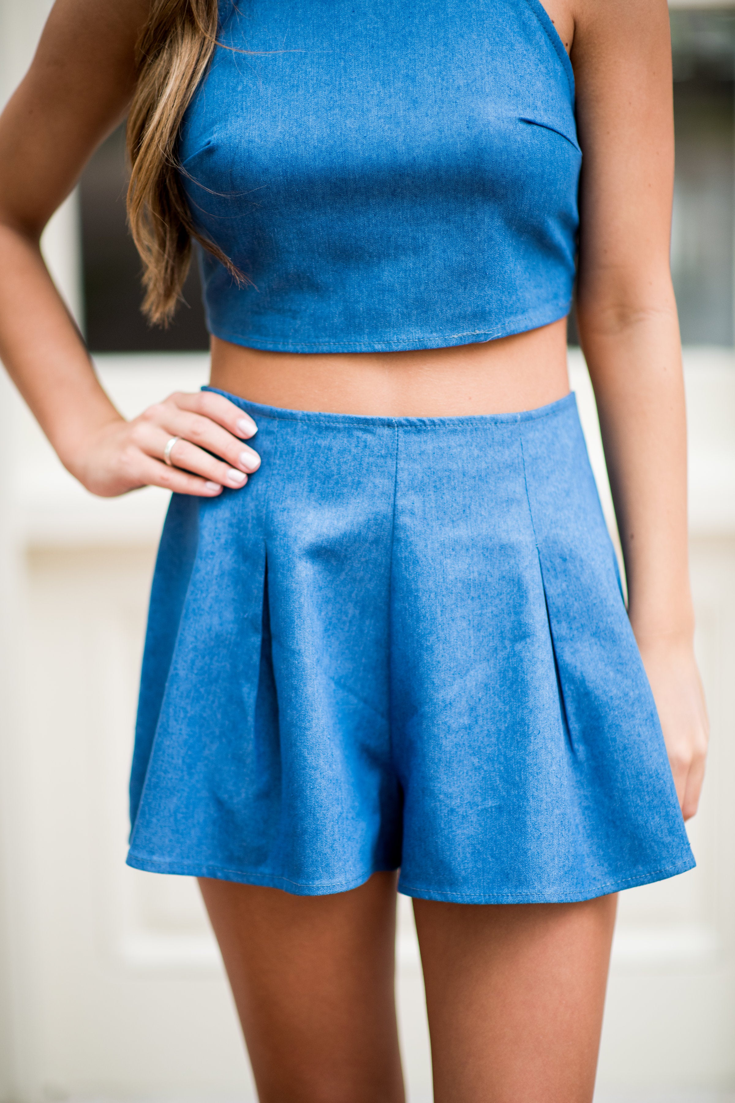 Bow on Top High Waisted Shorts:  Denim
