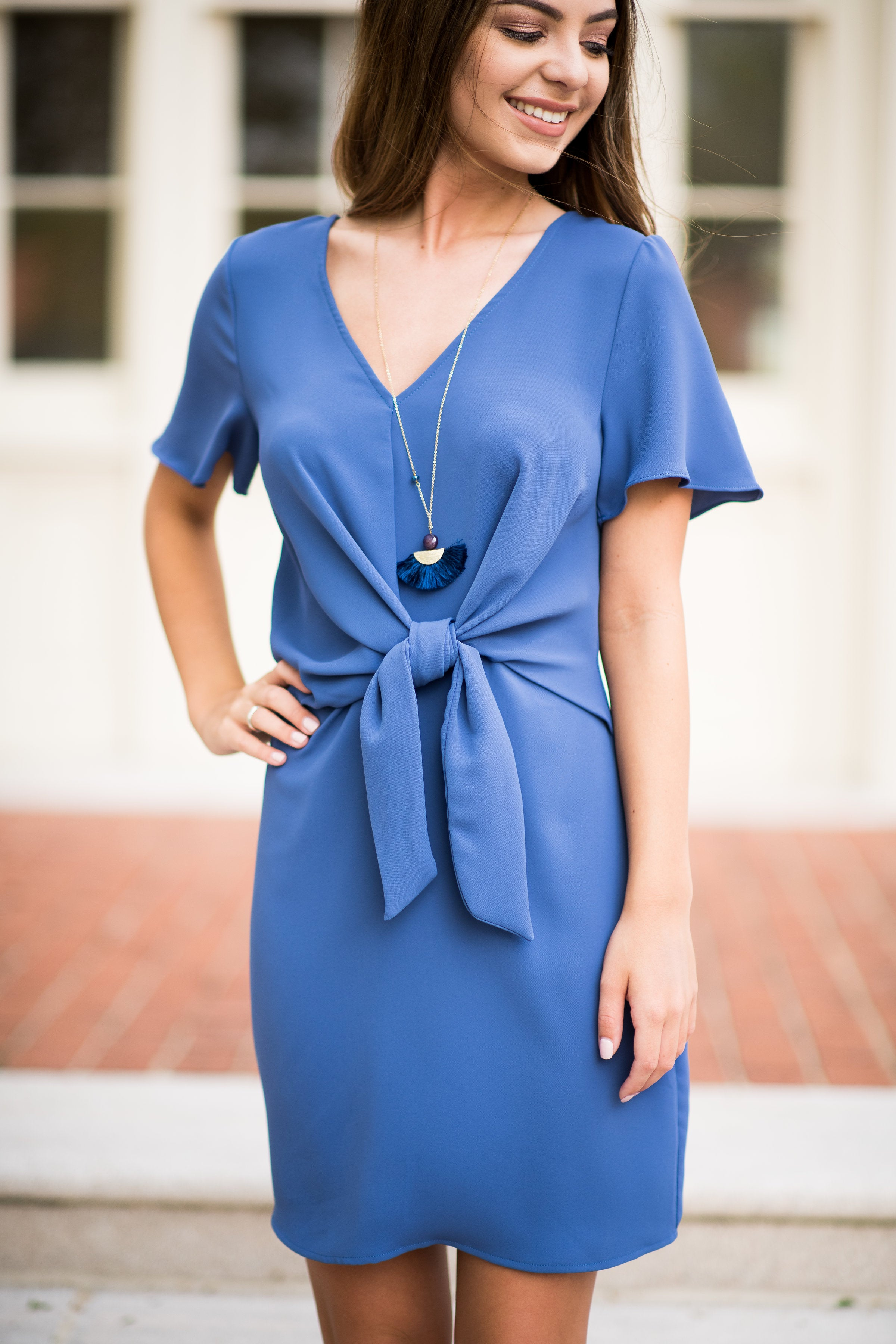 Top Notch Shift Dress with Front Tie Detail - Obsession Boutique