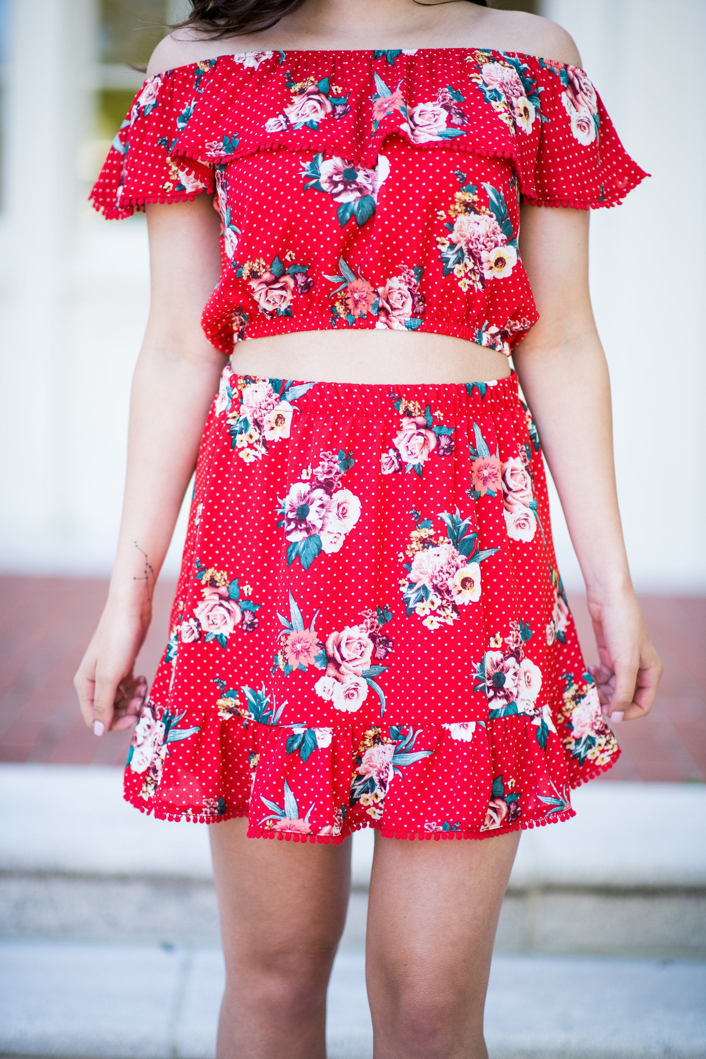 Forever Fiesta Printed Skirt with Ruffle:  Red