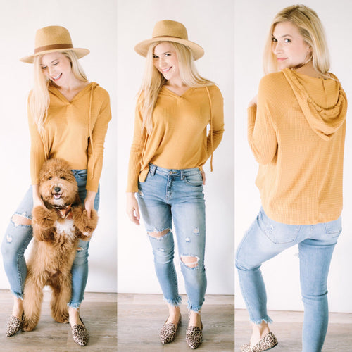 Autumn Attitude Hoodie Top in Mustard
