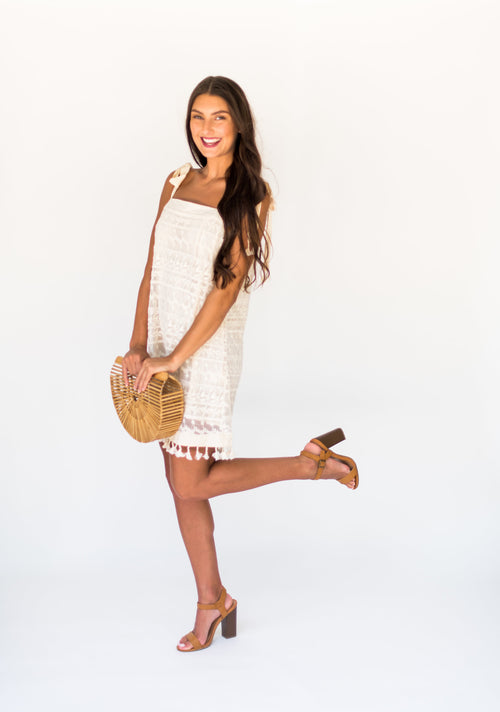 Sante Fe Sunset Embroidery Mesh Shift Dress:  Natural