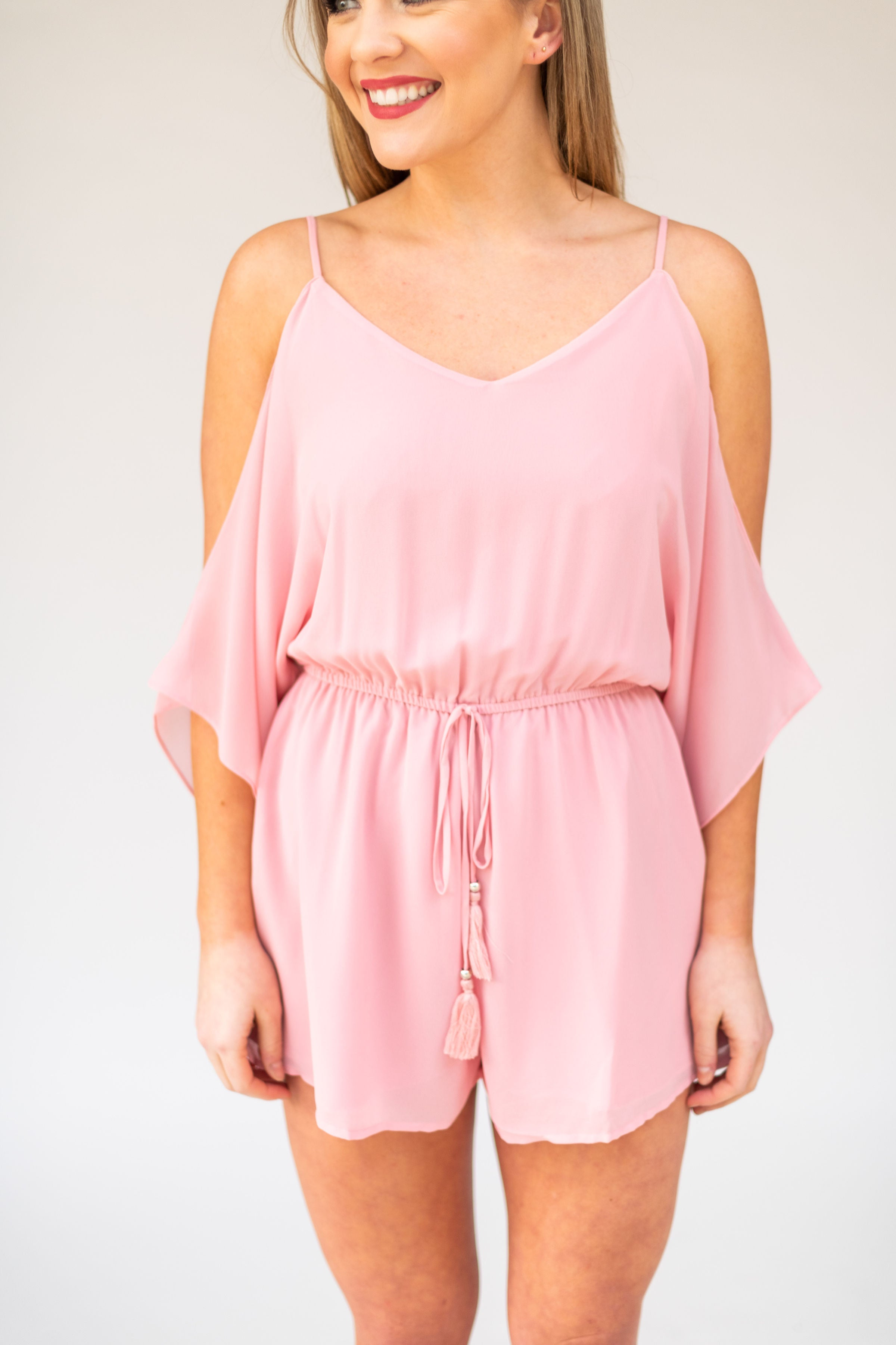 Just Like That Cold Shoulder Romper:  Pink