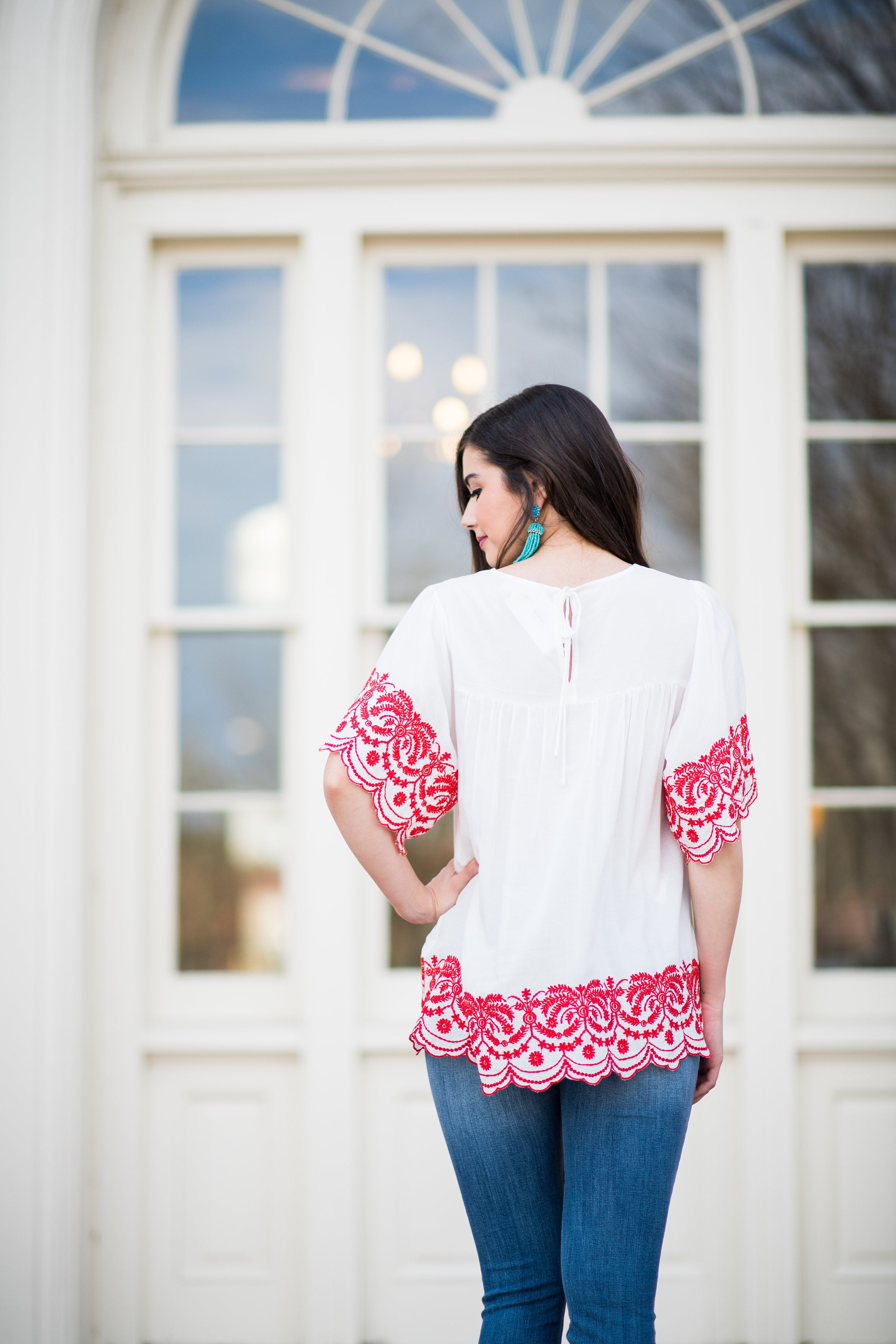 I Should Be on Vacation Embroidered Scoop Neck Blouse:  Red/Ivory