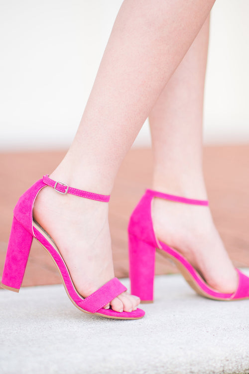 Strut Your Stuff Ankle Strap Heel:  Hot Pink