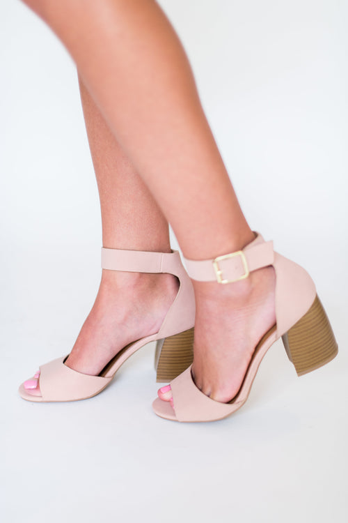So They Say Peep Toe Heel with Wooden Heel:  Blush