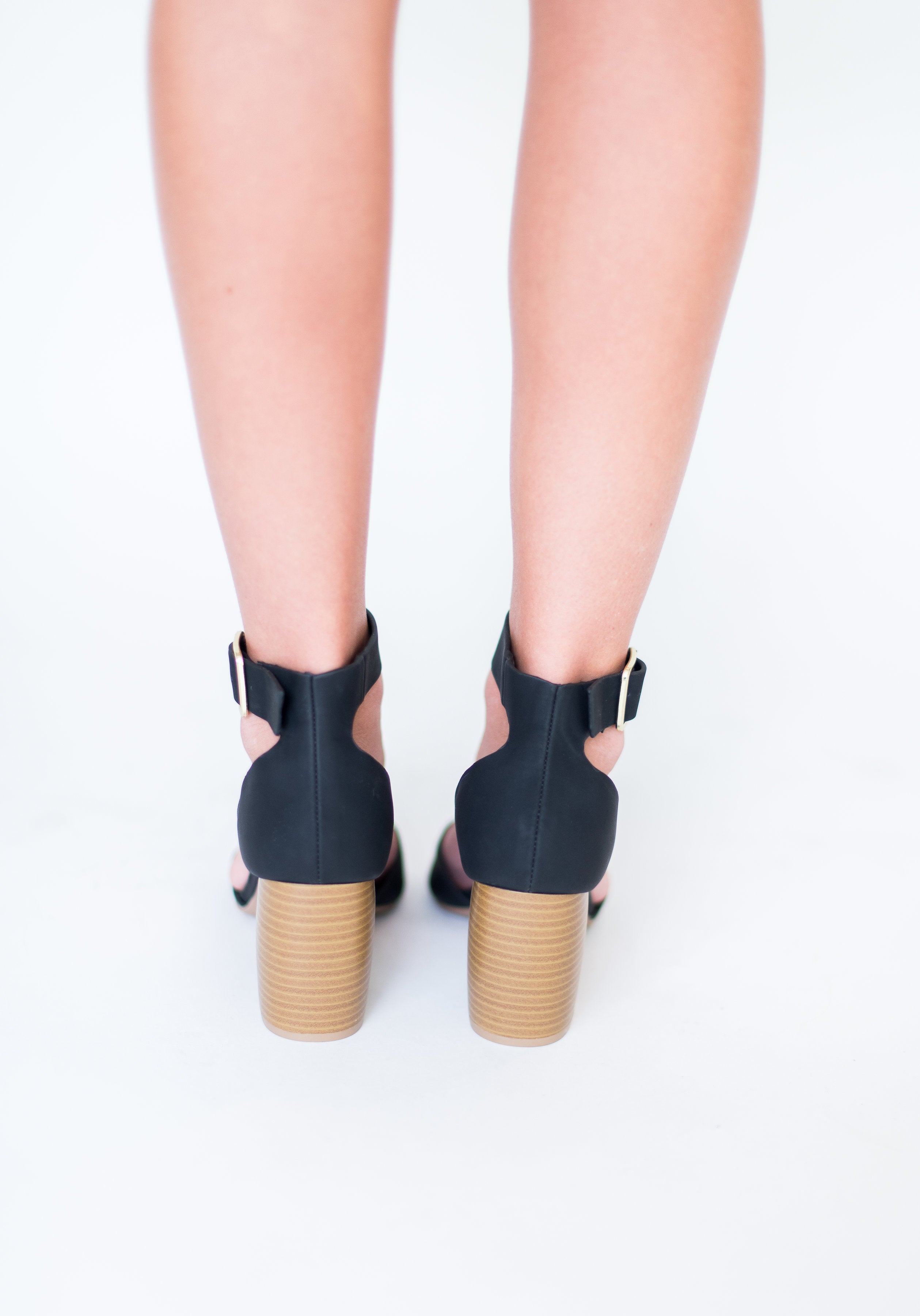 So They Say Peep Toe Heel with Wooden Heel:  Black